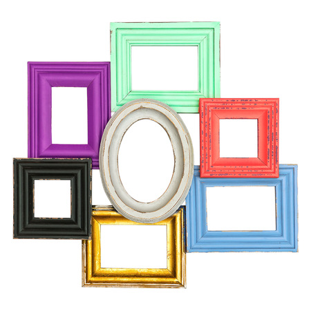 frames for photo and picture  vintage style framework isolated on white background  shabby chic photo