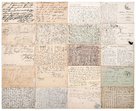 ephemera: antique postcards  old handwritten texts from ca  1900  grunge vintage papers background