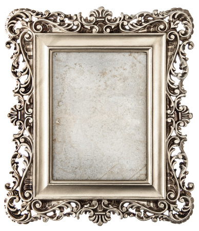 baroque style silver picture frame isolated on white background with canvas for your picture, photo, image Stok Fotoğraf
