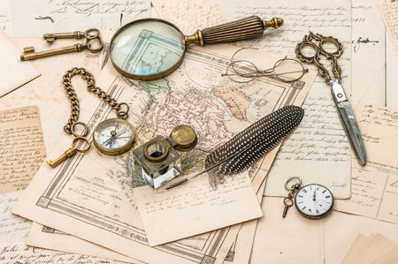 old letters: antique accessories, old letters and postcards, vintage ink pen  nostalgic sentimental background  ephemera