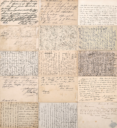 old photographs: antique postcards  old handwritten undefined texts from ca  1900  grunge vintage papers background