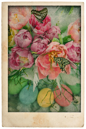 easter flowers and eggs. vintage postcard style. antique cardboard isolated on white background photo