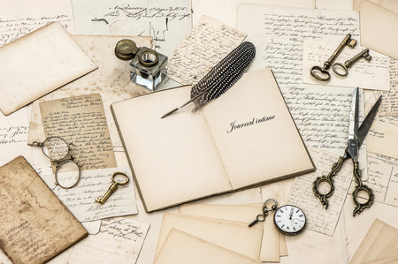 open diary notebook, old letters and postcards  nostalgic sentimental paper background photo