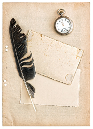vintage papers and postcards isolated on white background  antique feather pen and clock photo