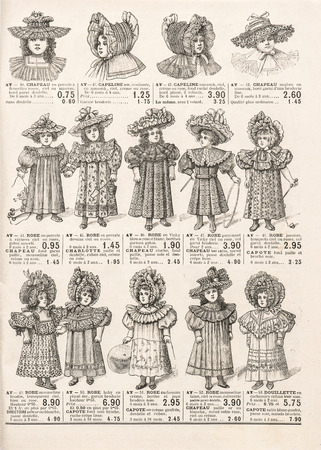 fashion clothing for girls  antique shop advertising, page of original shopping catalog La Samaritaine, Paris, France, circa 1898 photo