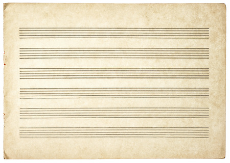 dirty sheet: grungy blank paper sheet for musical notes isolated on white background Stock Photo