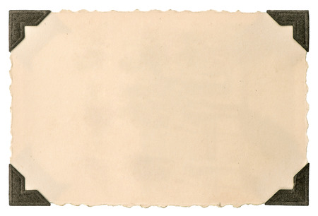 tarjeta de fotos antiguas con rincón aislado en fondo blanco