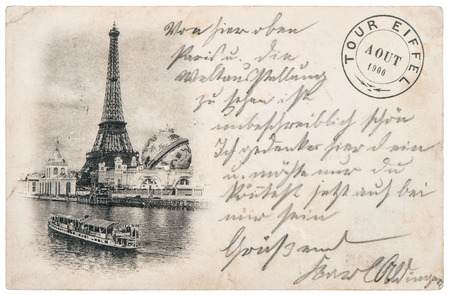 rare vintage postcard with Eiffel Tower in Paris, France, circa 1900 photo