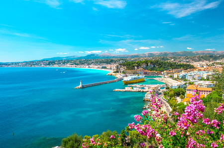 Nice city, french riviera, France  Turquoise mediterranean sea and perfect blue sky photo