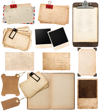 pile of old postcards isolated on white background  vintage paper sheets with clip  old photo frames  antique clipboard  retro design  ephemera photo