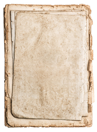 old papers isolated on white background  antique book pages photo