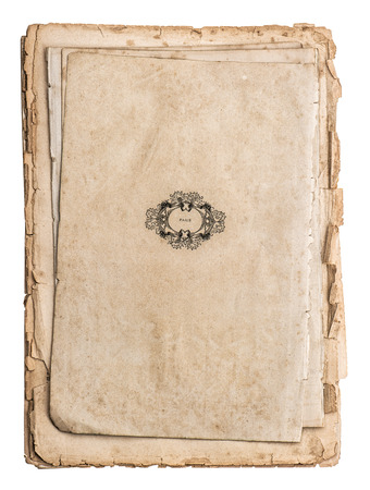 Antique papers isolated on white background  Old book pages photo