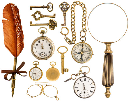 collectibles: antique keys, clock, ink pen, loupe, compass, glasses isolated on white background  collectibles