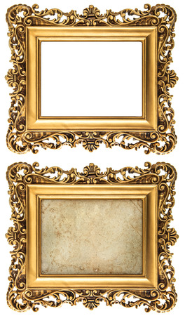 baroque style golden picture frame empty and with canvas for your picture, photo, image photo