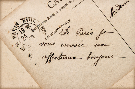 Antique french postcard with text lovely greetings from paris antique french postcard with text lovely greetings from paris 1920 romantic retro style background stock photo m4hsunfo