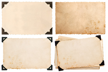 old cardboard with corner, postcard, aged paper isolated on white background