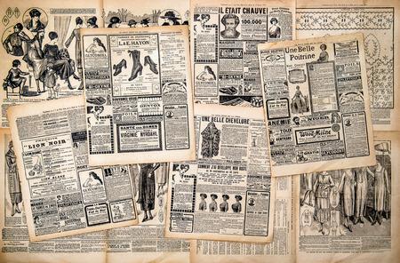 oude krant: Krantenpagina's met antieke reclame Vrouw