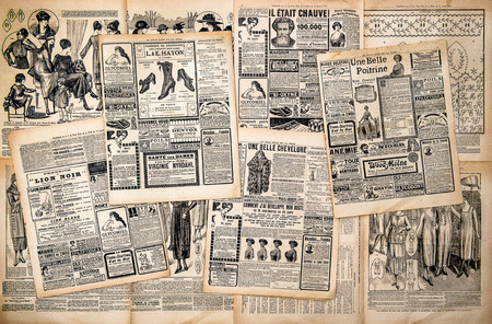 Newspaper pages with antique advertising  Woman photo
