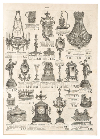 Old newspaper: antique victorian objects and collectibles  retro shop advertising, page of very popular shopping catalog Samaritaine, Paris, France, circa 1897