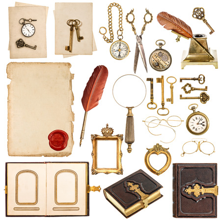 collection of paper sheets and vintage golden accessories isolated on white background  antique clock, keys, photo album, feather pen, photo frames loupe and glasses Stock Photo