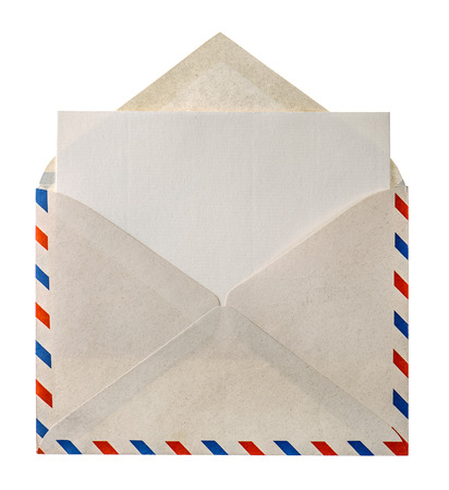 envelope with letter: annata posta aerea busta lettera isolato su sfondo bianco
