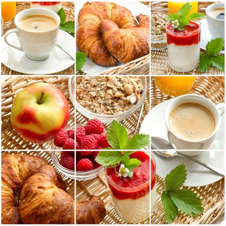 breakfast with coffee, croissants, orange juice and fresh strawberry yogurt photo