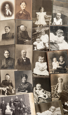 ancestors: old family photos  parents, grandfather; grandmother; children  nostalgic vintage pictures from ca  1900