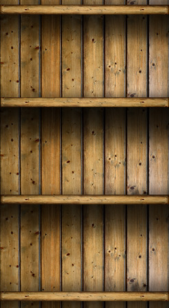 empty vintage rustic wooden shelves  grungy background photo