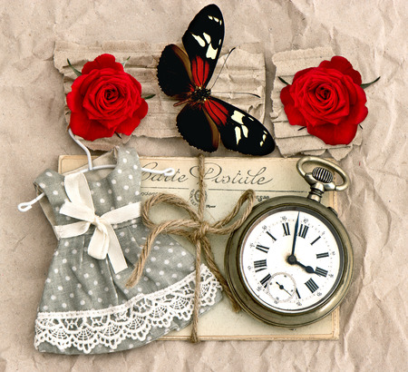 old love post cards and vintage clock, red rose flower, valentine heart and butterfly  nostalgic romantik background