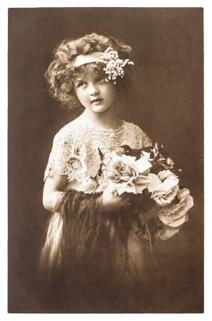 vintage woman: vintage nostalgic portrait of little girl ca  1918   Stock Photo