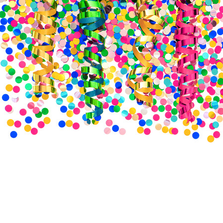 fasching: colorful confetti and shiny streamer  party decoration over white background