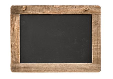 나무 프레임 빈티지 칠판 텍스트에 대 한 장소 흰색 배경 칠판에 고립