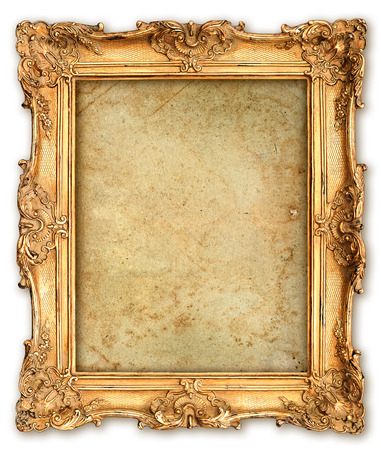 old golden frame with empty grunge canvas for your picture, photo, image  beautiful vintage background Фото со стока