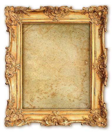 oude gouden frame met lege grunge canvas voor uw foto, foto, afbeelding mooie vintage achtergrond Stockfoto