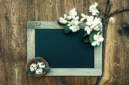 chalkboard with apple tree blossom and easter eggs decoration on rustic wooden background photo