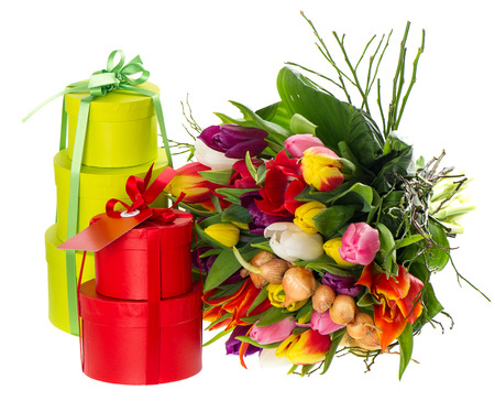 bouquet of fresh multicolored tulips with gift box on white background  festive decoration  holidays background photo
