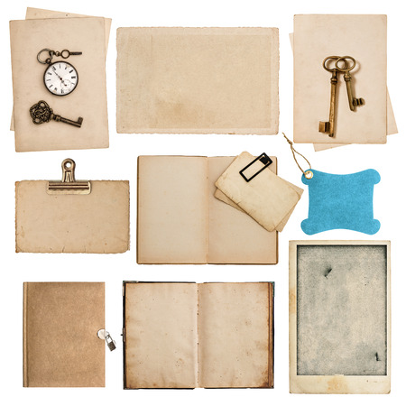 antique grungy paper sheets with clock and key isolated on white background photo