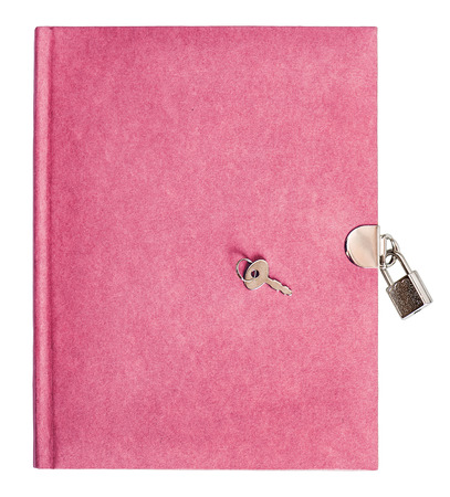 pink diary book with lock and key isolated on white background photo