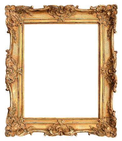 baroque picture frame: antique golden frame isolated on white background