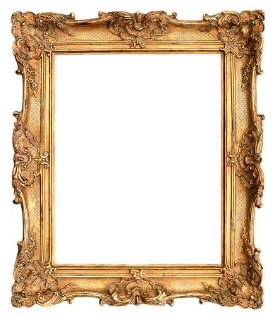 muebles antiguos: marco antiguo de oro aisladas sobre fondo blanco