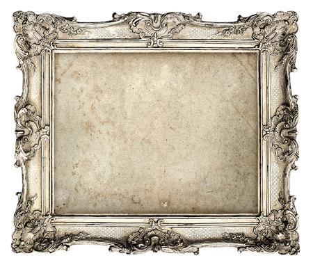 古い銀フレーム空グランジ キャンバスの写真、写真、イメージの美しいビンテージ背景