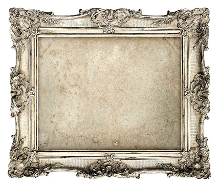 vintage furniture: old silver frame with empty grunge canvas for your picture, photo, image  beautiful vintage background