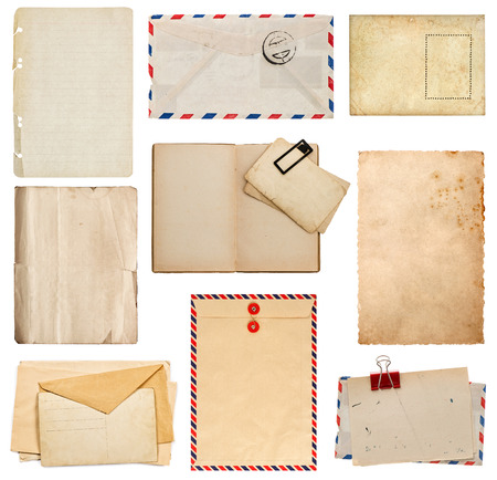 scrap paper: set of old paper sheets, book, envelope, card isolated on white background