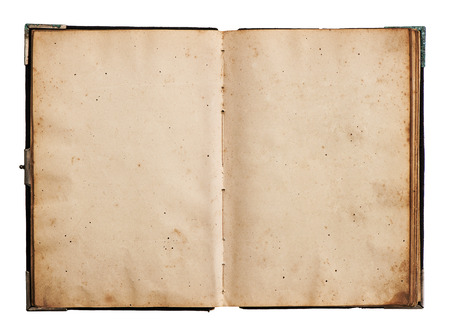 open old book isolated on white background with clipping path Stock Photo