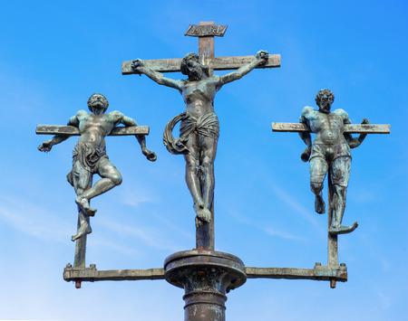 inri: crucifixion of Jesus Christ, INRI, sculpture on the bridge to the Insel Mainau, Lake Constance, Baden-Wuerttemberg, Germany, Europe