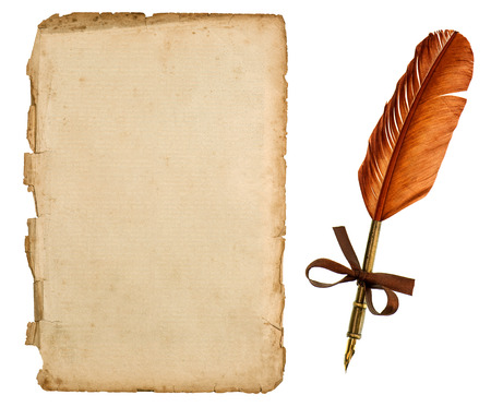 quill pen: antique paper sheet and vintage ink pen isolated on white retro handwriting accessories