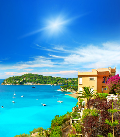 beautiful mediterranean landscape, view of luxury resort and bay of Villefranche-sur-Mer, Cote d