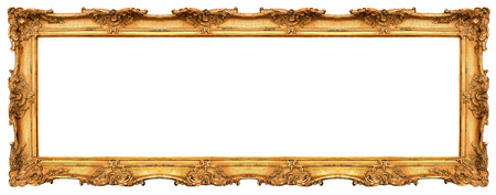 gild: long old golden frame isolated on white  beautiful vintage background Stock Photo
