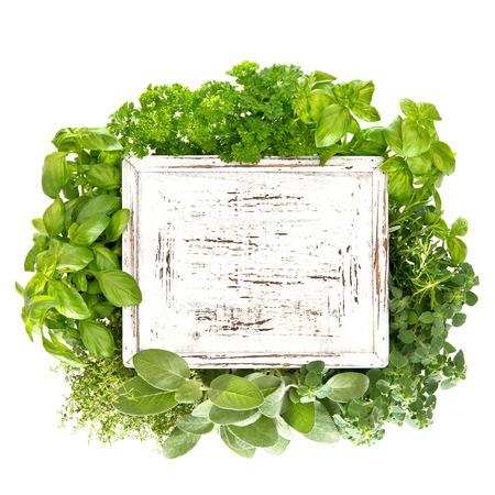 closeup of fresh herbs with wooden board Zdjęcie Seryjne - 29737311