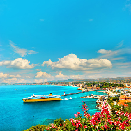 View of mediterranean resort Nice, Cote d Stock Photo